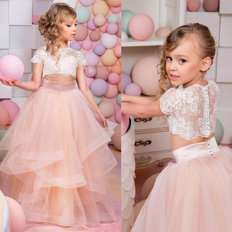 Vestidos primera comunion 2017 two piece ball gown flower for Flower girls wedding dress