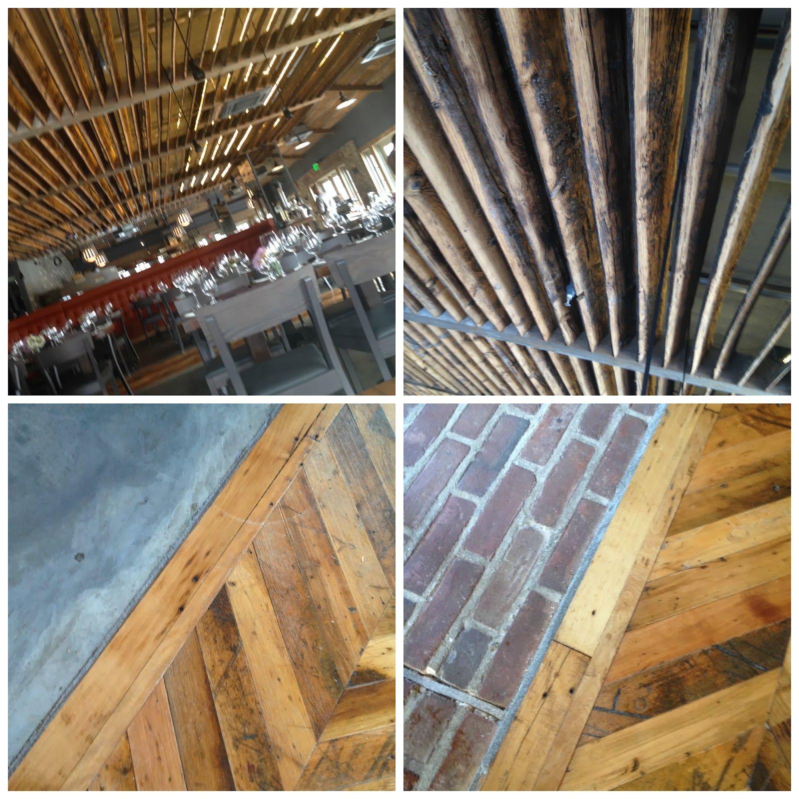 Rivermarket Wood Slatted Ceiling Marked With Mushrooms From Mushroom Growing Crates Wood Slat Ceiling Wood Slats Restaurant Design