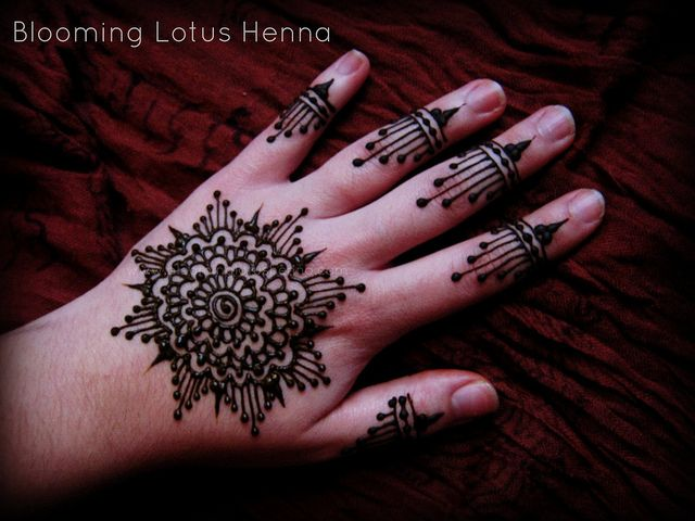 Drop Dot Henna Mandala Hand Blooming Lotus Henna General Henna