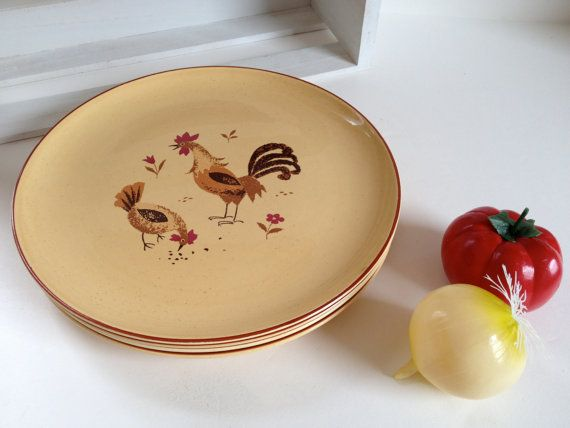 4 HONEY HEN dinner plates Harmony House yellow speckled china rooster chicken barnyard dinnerware set 1960s -- RESERVED for Jennifer & 4 HONEY HEN dinner plates Harmony House yellow speckled china ...