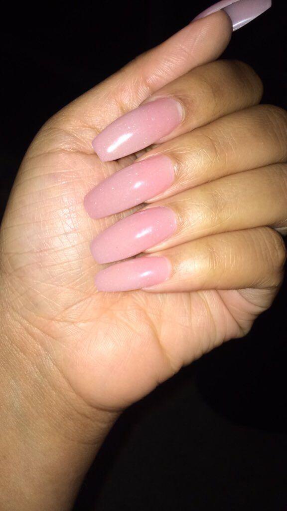 Long Coffin Shape Soft Pink Powder Pink Powder Nails Powder Nails Nail Shapes