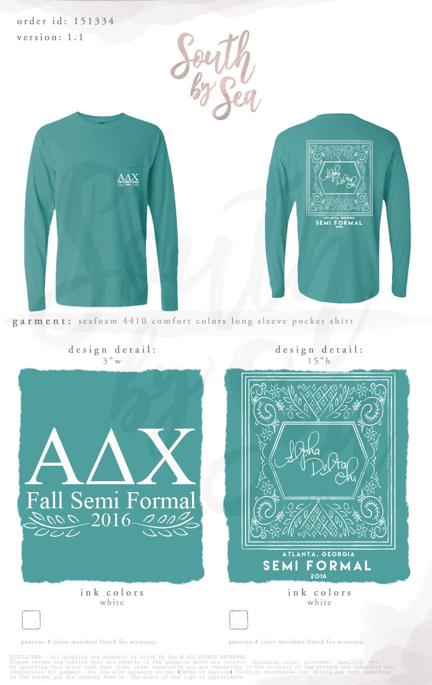 Seafoam Comfort Colors Long Sleeve T Shirt With Front Pocket And