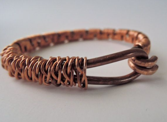 Rustic Copper Bracelet Wire wrapped copper by MateriaMorfosi ...