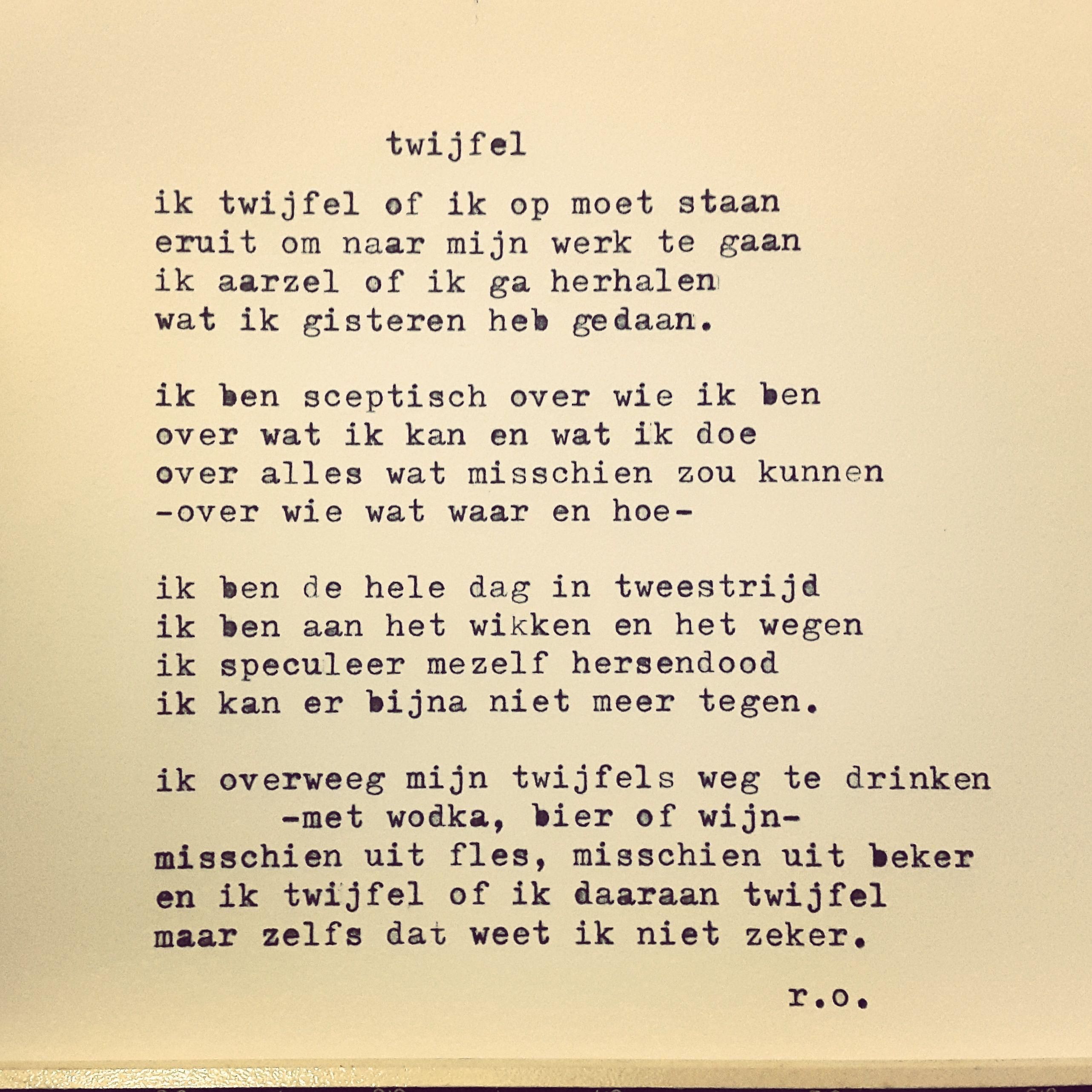 in het nieuwe gedicht van ren233 oskam speelt twijfel de