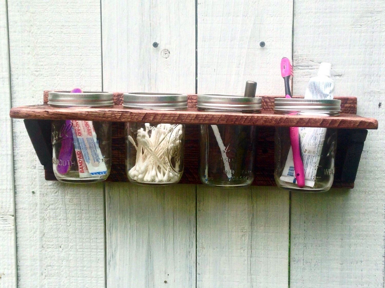 Mason Jar Bathroom Organizer Rustic Wall Decor Caddy Planter Organization By