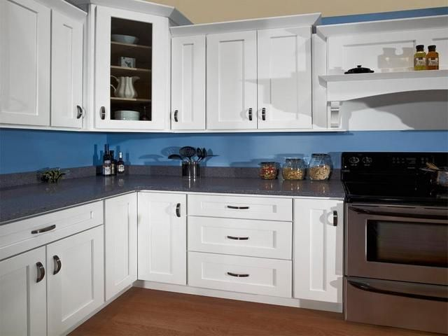 Hampton Bay Shaker Satin White Cabinets