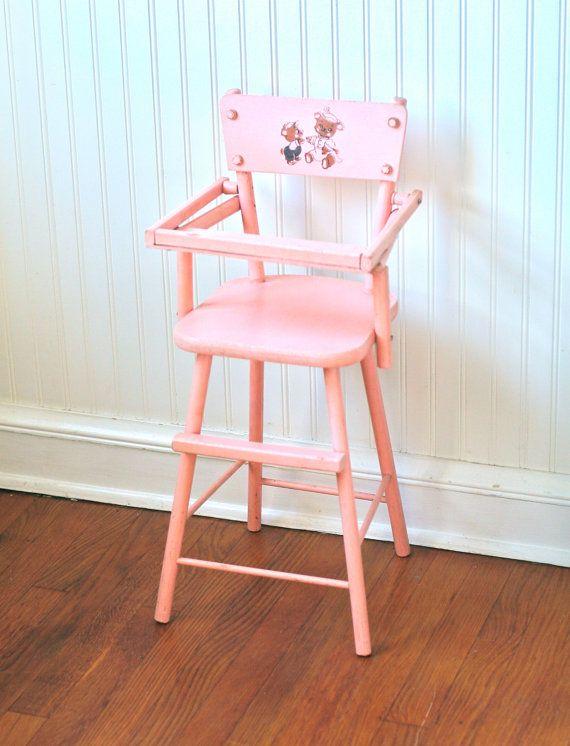 Circa 1950s Pink Wooden Doll High Chair Cass Teddy Bear