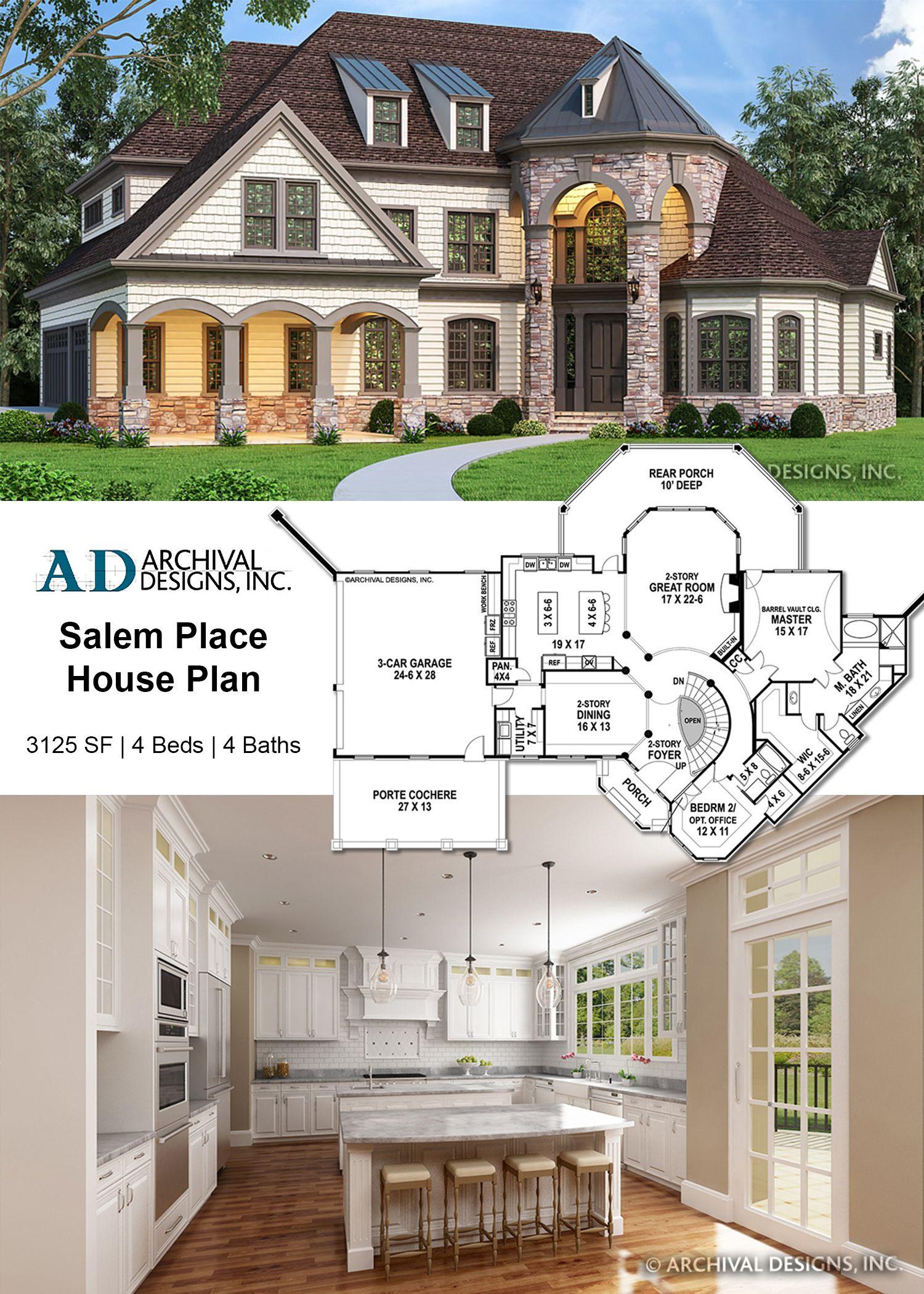 Salem Place House Plan House Plans Craftsman House Plans   Grand Staircase House Plans   Curved Staircase   3 Car Garage   Acadian Home Interior   Single Story   1800 Square Foot