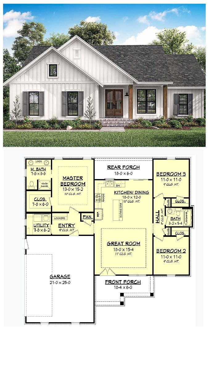 New House Plan Country Style Home With 3 Bedrooms And 2 Bathrooms In A 1400 Square Foot Floor Plan Country House Plans House Plans Craftsman House Plans