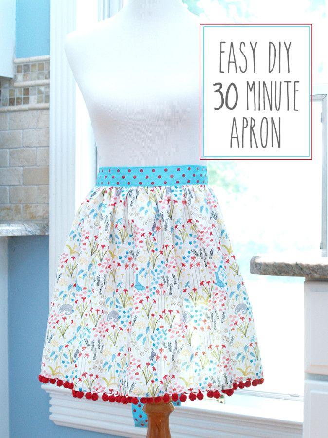 Easy DIY 30 Minute Apron - | Costura, Tela y Delantales de cocina