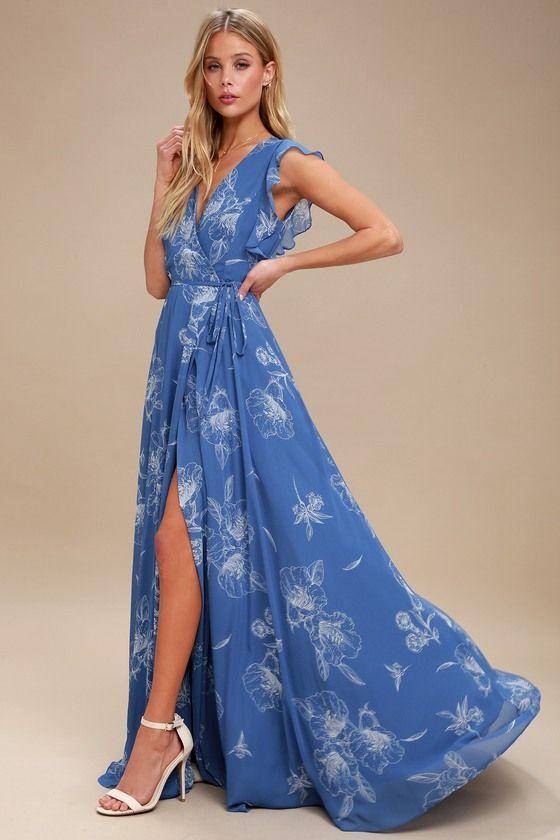 Albion Blue Floral Print Wrap Maxi Dress In 2019 Lulus