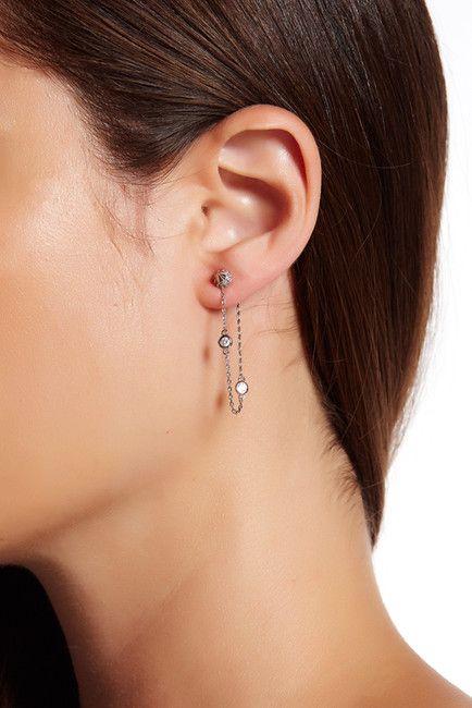 Image of Free Press CZ Spike Chain Drape Earrings
