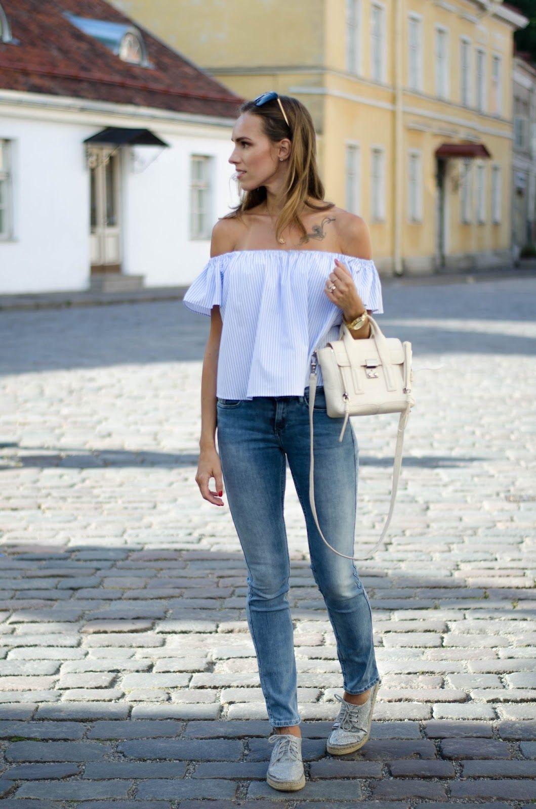 kristjaana mere light blue striped off shoulder top jeans