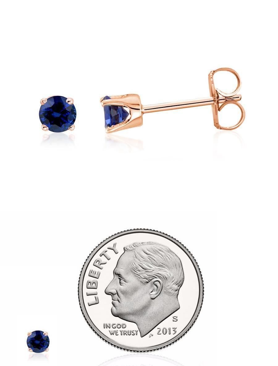 Other Fine Jewelry 505: 100% 14K Rose Gold Genuine Diamond-Cut Blue Sapphire Stud Earrings .20Ct - 3Mm BUY IT NOW ONLY: $62.78
