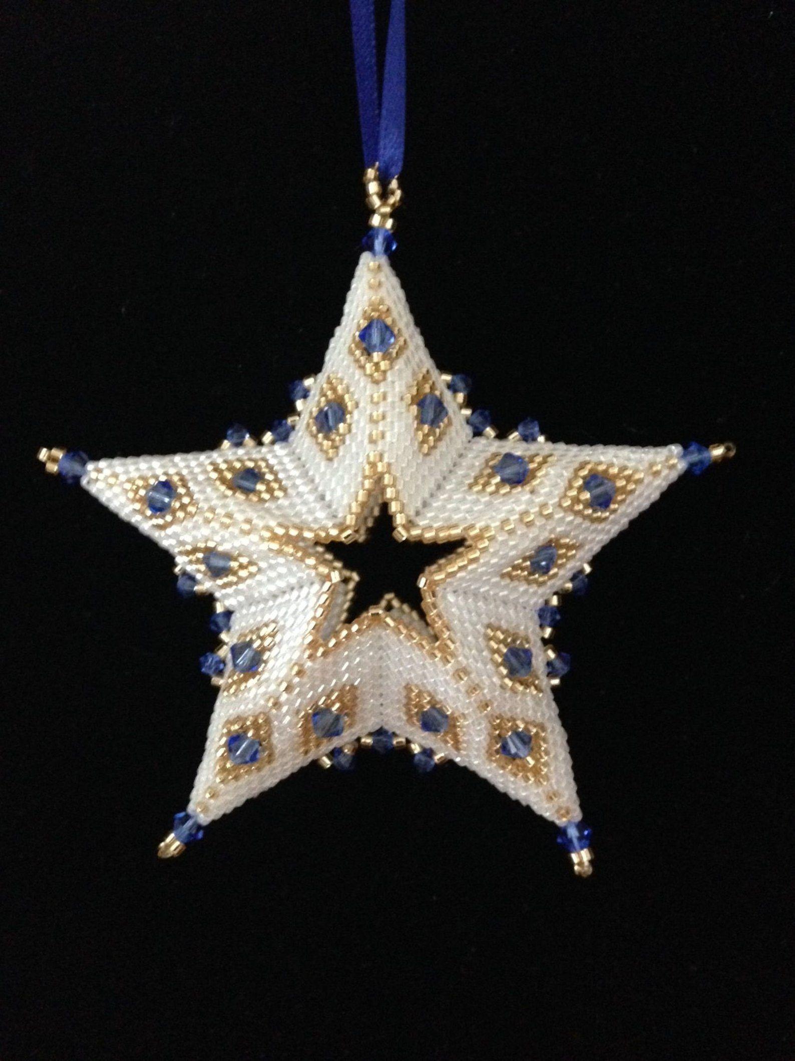 3d Beaded Star Christmas Ornament Pattern Tutorial Pdf Etsy Christmas Ornament Pattern Beaded Christmas Ornaments Christmas Bead
