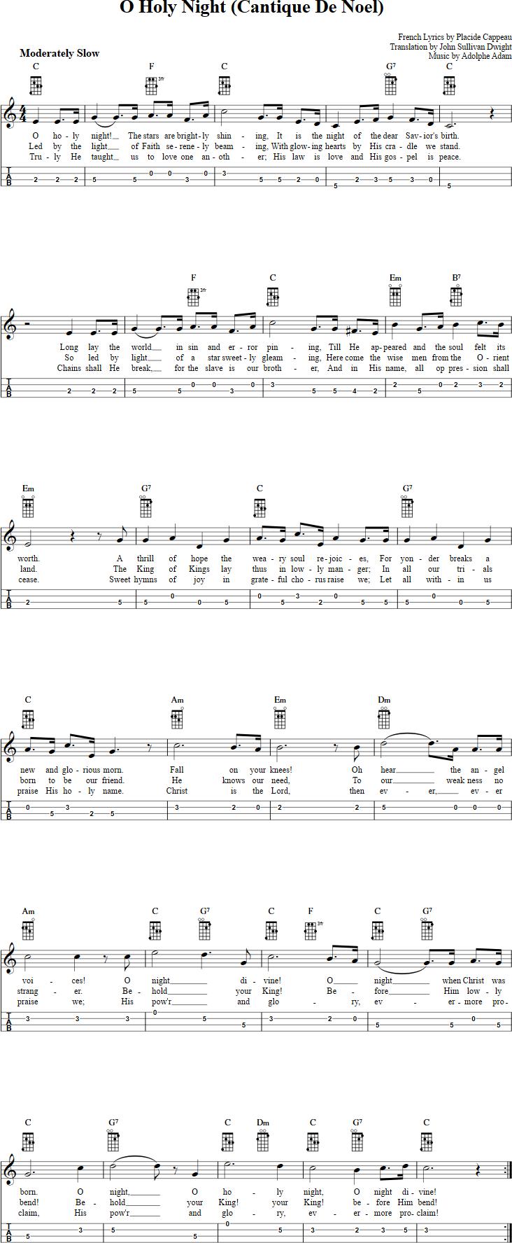 O Holy Night Mandolin Tab jenjenna01 Christmas ukulele