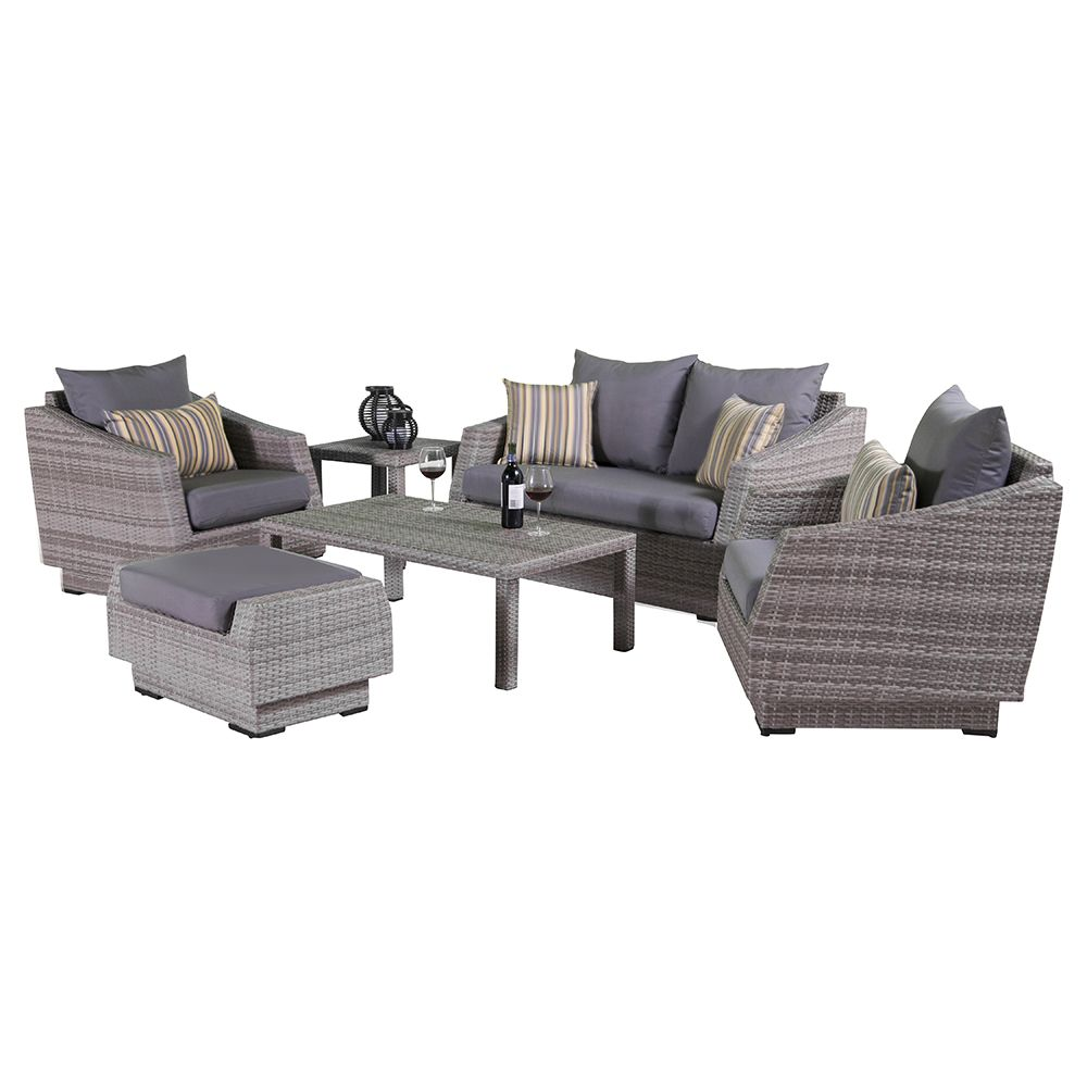 Best Cannes™ 6Pc Love And Club Seating Set Charcoal Gray 400 x 300