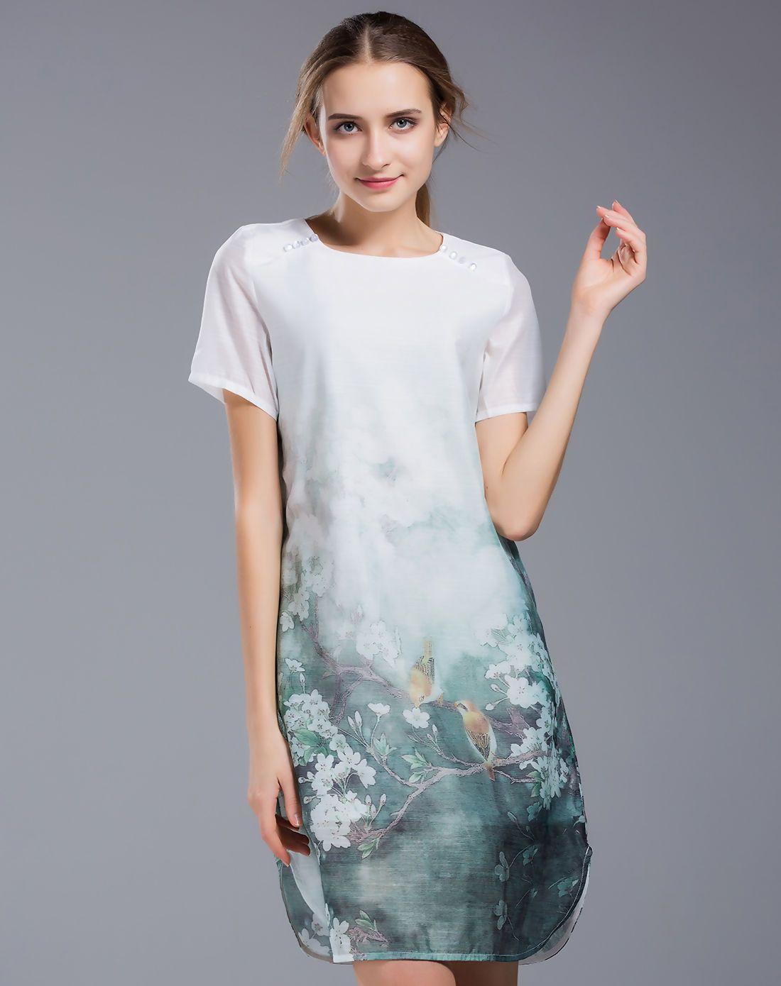#AdoreWe #VIPme A-Line Dresses - SHIHUATANG Bird Printed Loose Elegant Mini Dress - AdoreWe.com