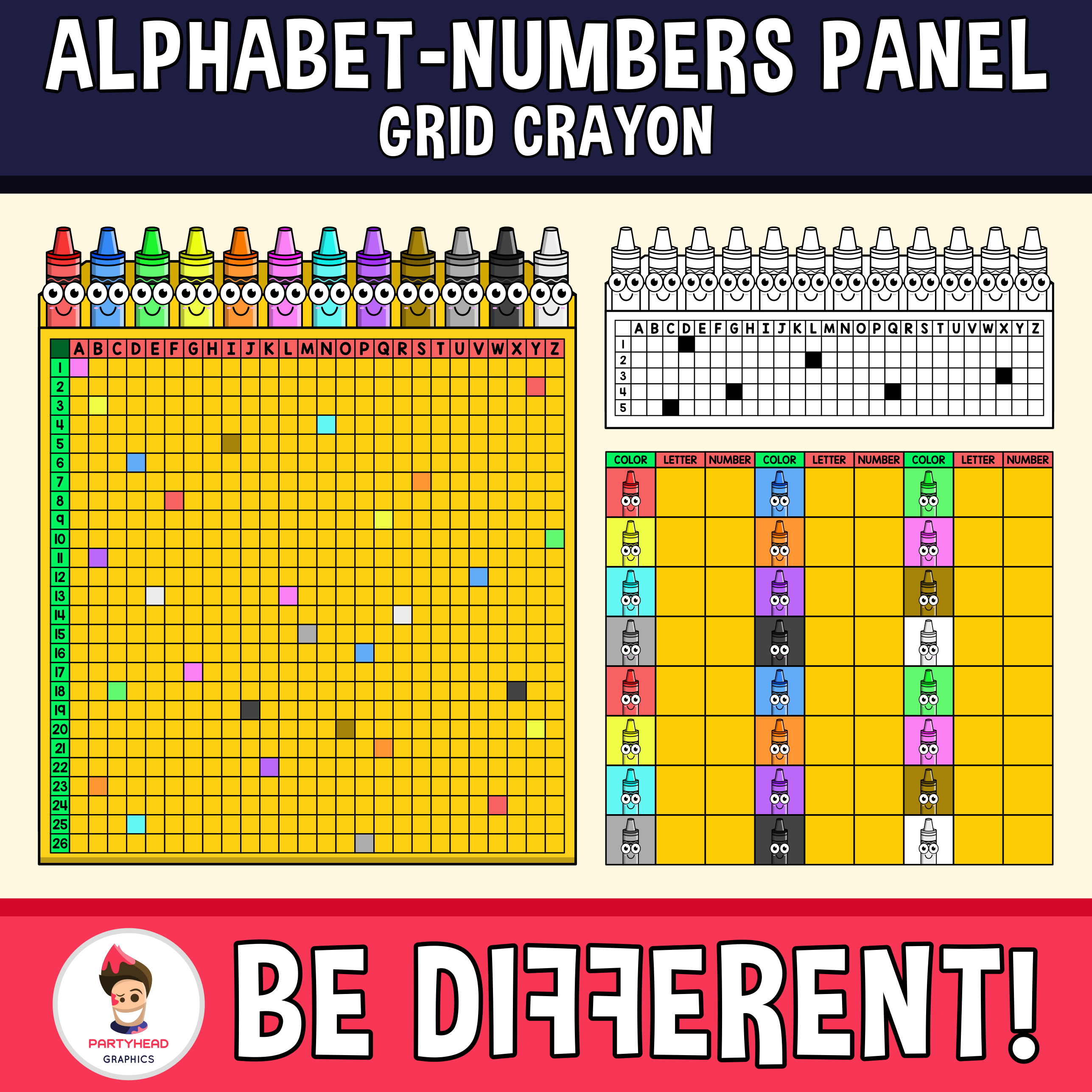 Alphabet Numbers Panel Grid Clipart Crayon Edition In