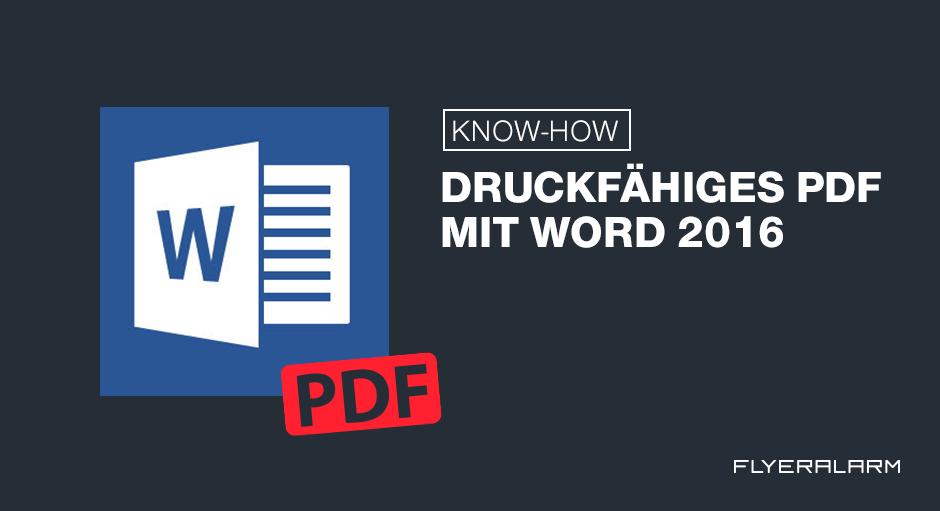 Tutorial Druckfähiges Pdf Mit Word 2016 Erstellen