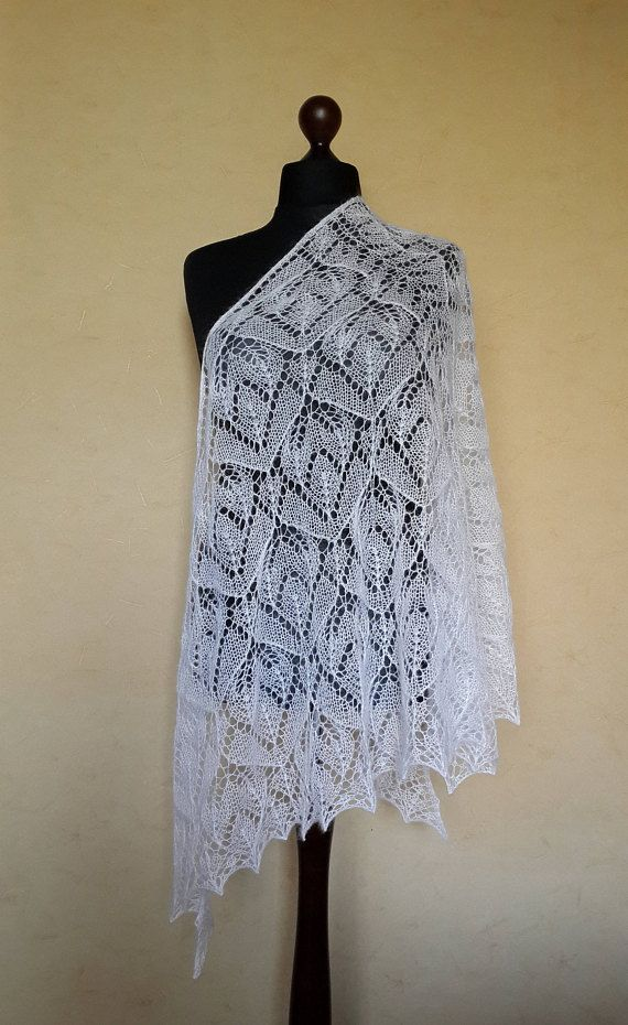 Lace knit mohair shawl, Evening shawl wrap, Knit white mohair shawl ...