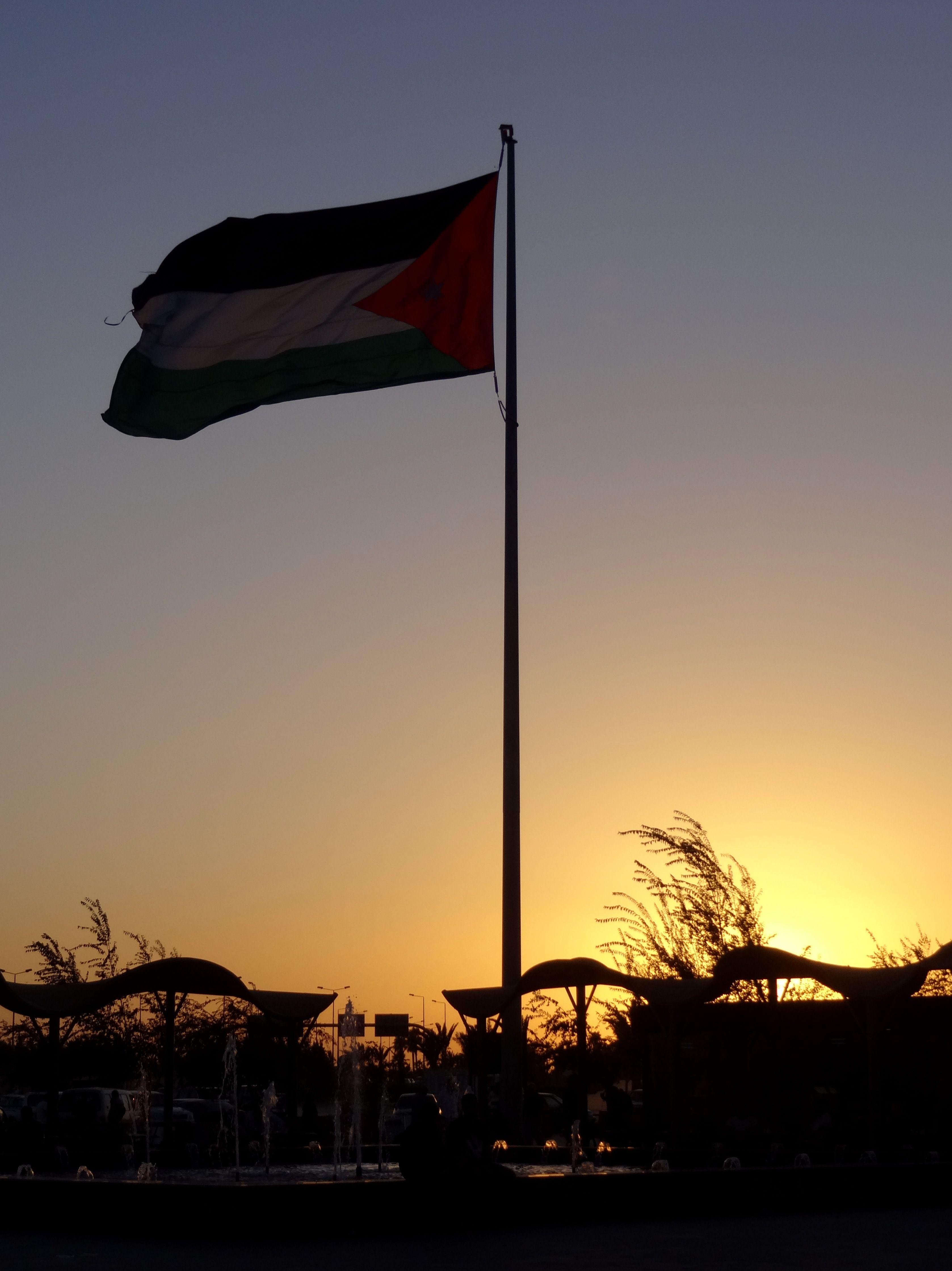 Jordan's flag as the sun sets. Photo Brian Kaylor