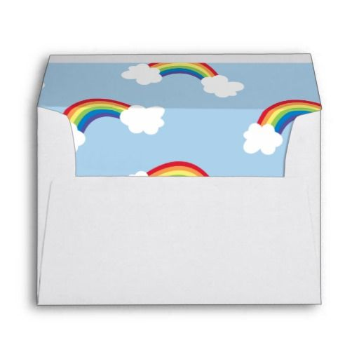 Whimsical Rainbow Birthday Party Lined Envelope