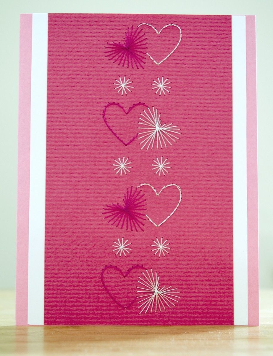 Valentine greeting cardvertical hearts paper embroidered valentine greeting cardvertical hearts paper embroidered greeting card 499 via kristyandbryce Image collections