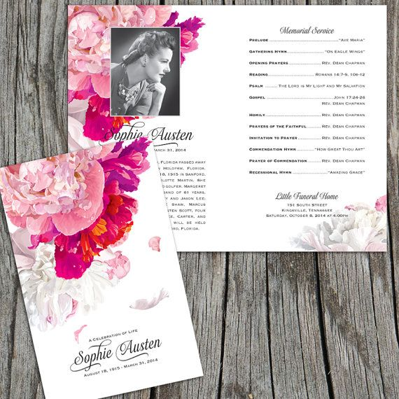 Beautiful Soft Peonies Funeral Program Funeral Folder Celebration