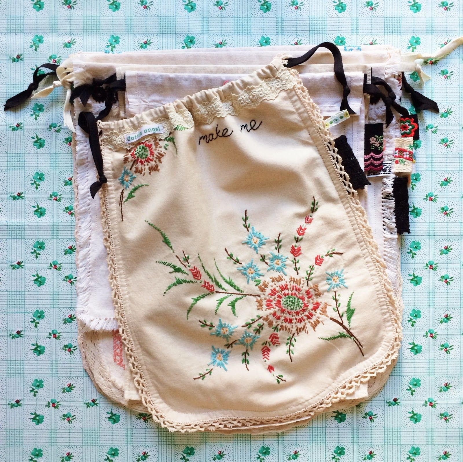 Old Embroidery doilies remade into bag