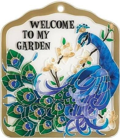 Peacock Garden Tile Or Plaque $20.00 Allthingspeacock.com   Peacock Garden  Decor