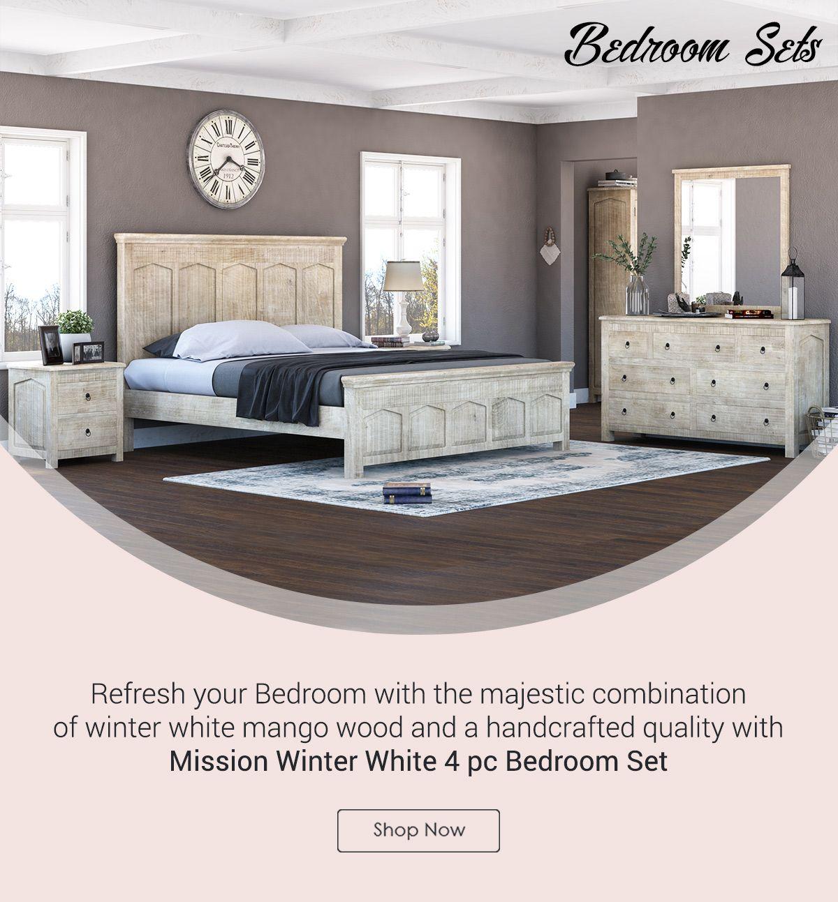 Mission Winter White 4 Piece Bedroom Set Bedroom Set Bedroom Furniture Sets Wood Platform Bed