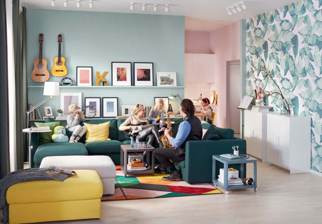 Turquoise | IKEA Vimle Five Seat Corner Sofa With Chaise Longue And Vimle  Footstool With Storage