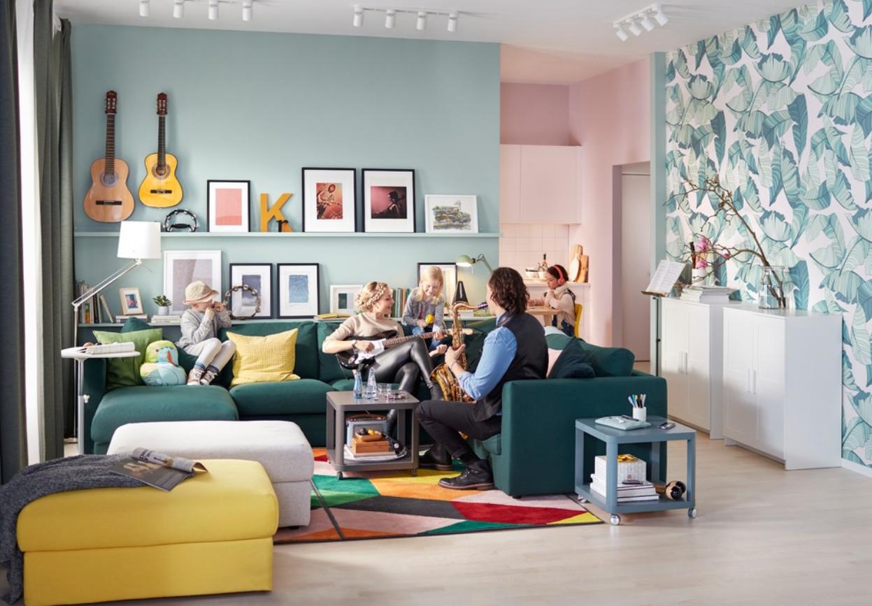 turquoise | ikea vimle five-seat corner sofa with chaise longue, Wohnzimmer dekoo