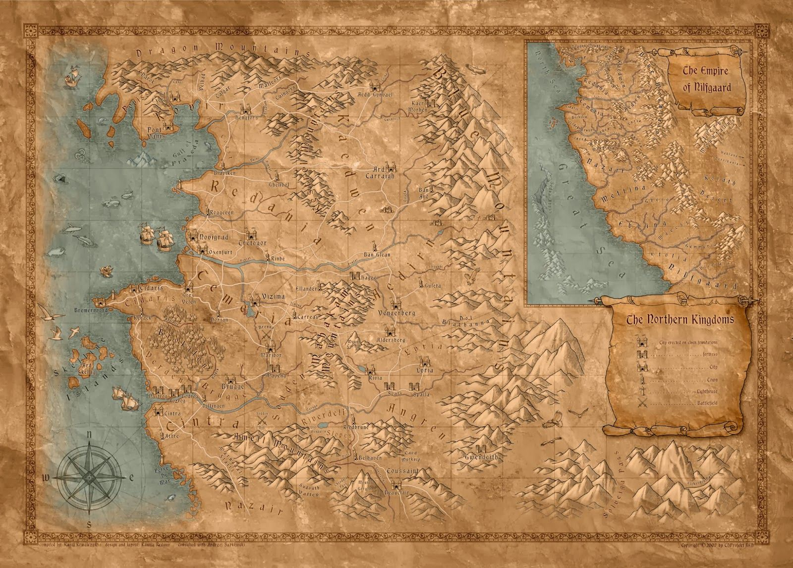 Mapa The Witcher 2.Epic Maps El Mundo De Geralt De Rivia Fantasy Map World