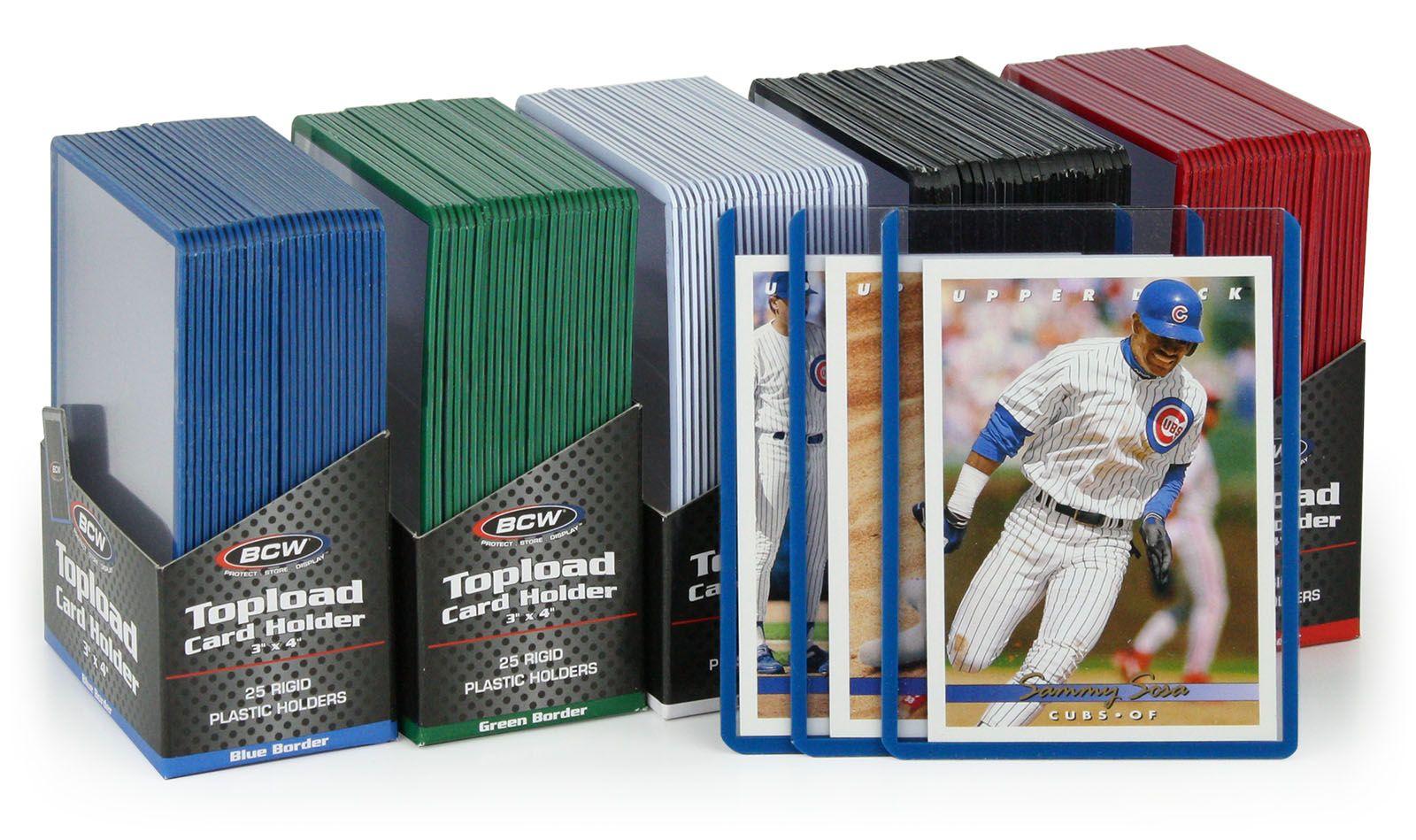 100 BCW Baseball Trading Card Rigid Topload Holders WHITE Border hard toploaders