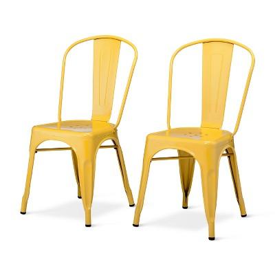 Carlisle High Back Metal Dining Chair Yellow Set Of 2 Adult