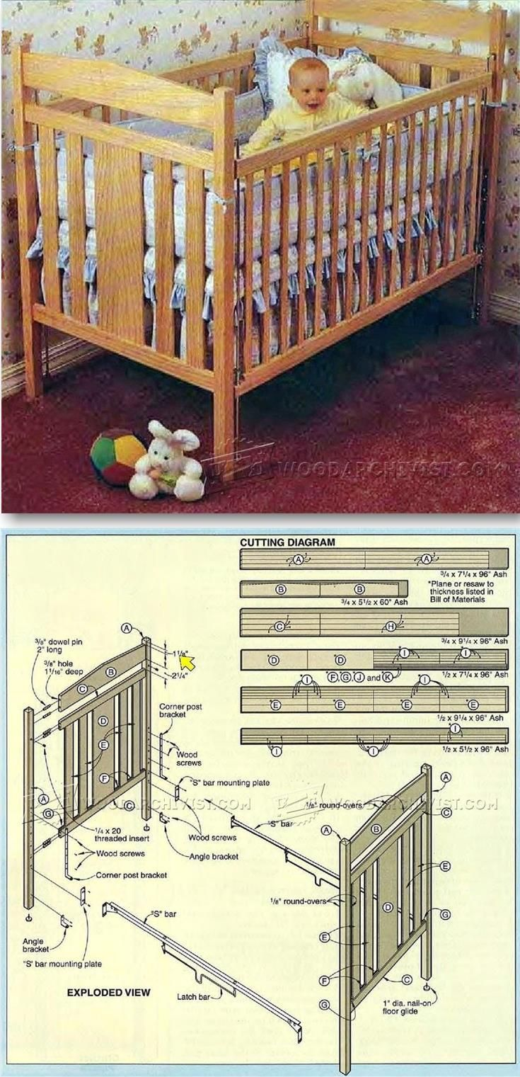 Baby Crib Plans Children S Furniture Plans And Projects Woodarchivist Com Diy Nursery Furniture Kids Furniture Plans Diy Furniture Easy