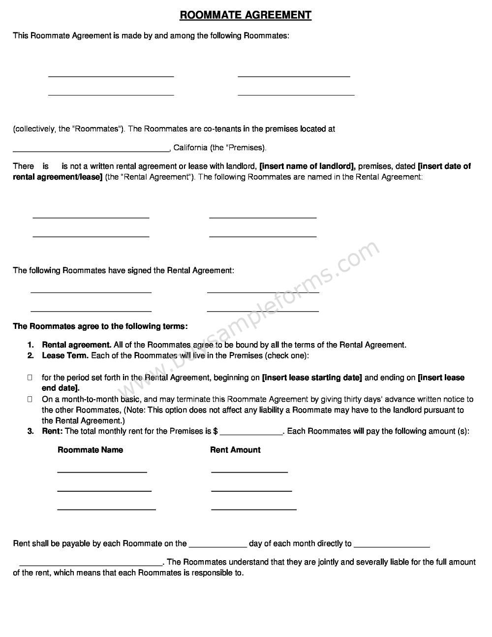 Roommate Rental Agreement Form Template Word Doc