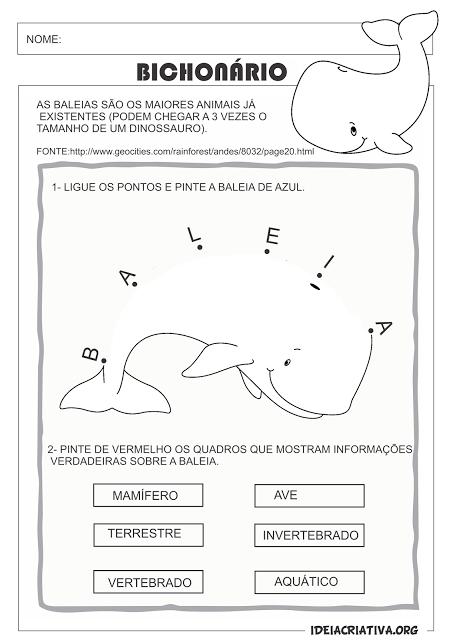 Atividade Bichonário Letra B Baleia Liga Pontos | Alfabetização ...
