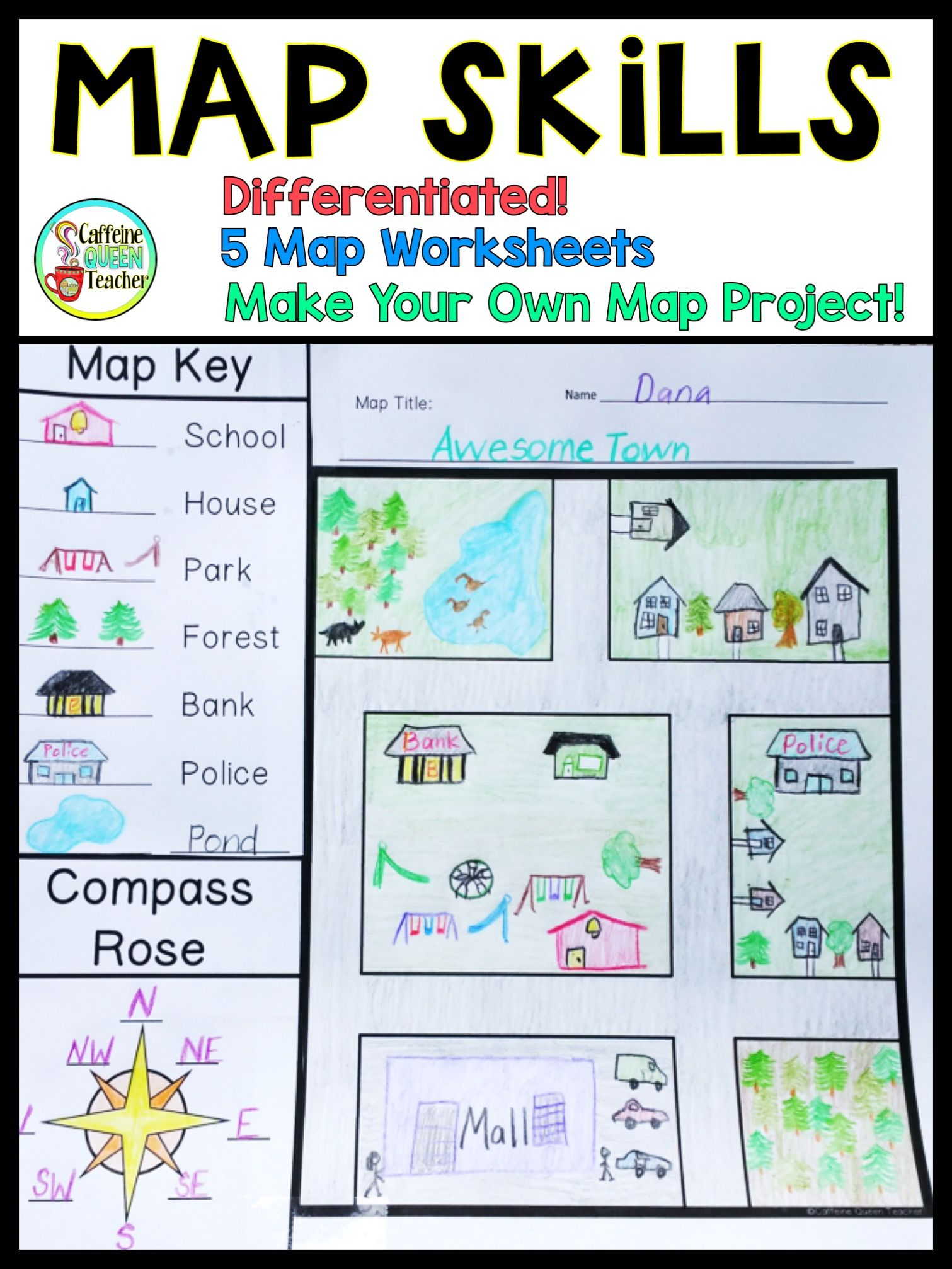 Map Skills Make Your Own Map Project Map Skills Social Studies Projects Social Studies Maps