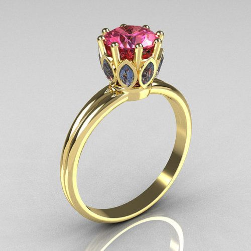 Yellow Gold Round and Marquise Blue and Rose Topaz Solitaire ring