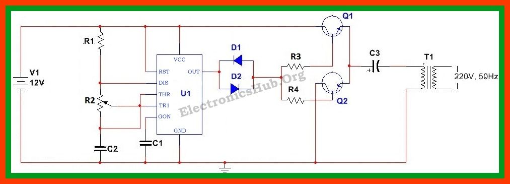 How To Make 12v DC to 220v AC Converter/Inverter Circuit ... Ac To Dc Convertor Wiring Diagram on