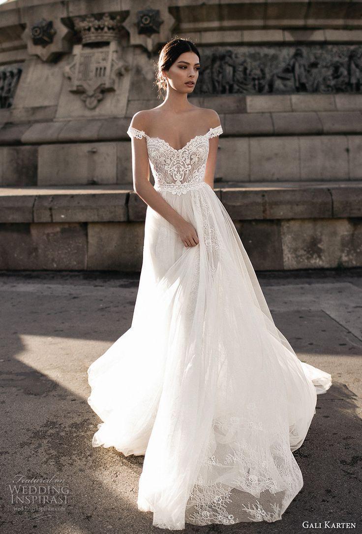 Tulle skirt wedding dress  gali karten  bridal off the shoulder sweetheart neckline heavily