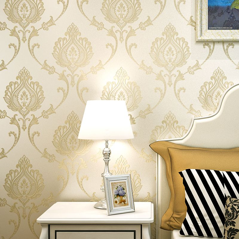 european style 3d relief nonwoven damask wallpaper for