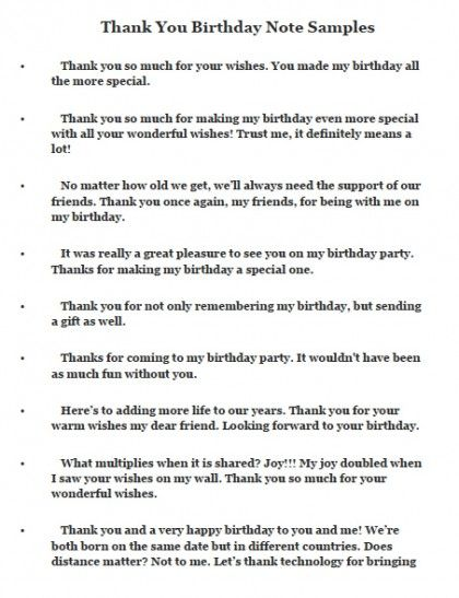 Thank You Birthday Note Samples Much For Your Wishes Messages Best