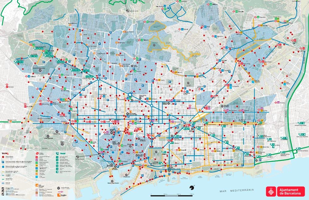 Cycle Routes Cycle Paths Cycle Lanes Of Barcelona Map Bike