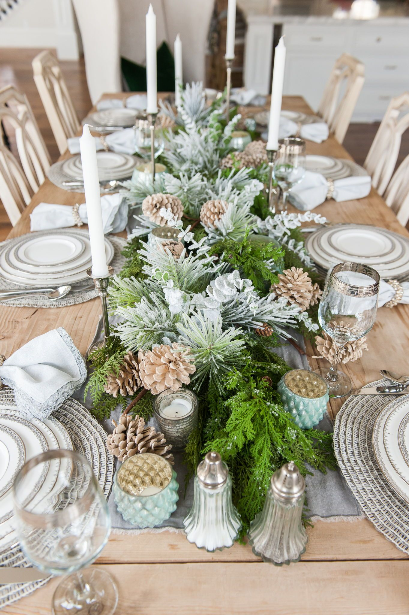 The Perfect Holiday Tablescape Transitions Fall To Winter Using Faux Frosted Tip Pine Branc Holiday Tablescapes Christmas Table Decorations Table Setting Decor