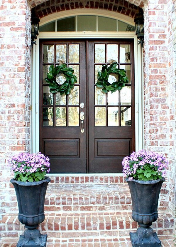 How To Make A Magnolia Wreath Double Front Doors Double Entry