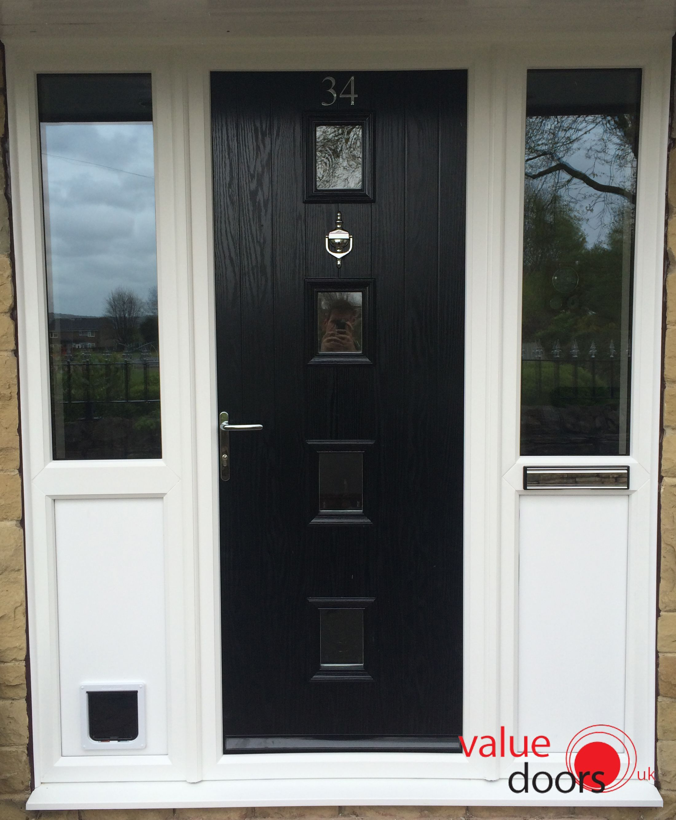 Black Composite Door With Sidelight And Cat Flap Black Front
